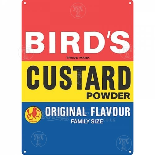 Birds Custard Metal Sign