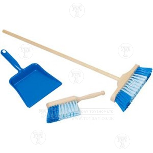 Blue kids dustpan and brush cleaning set