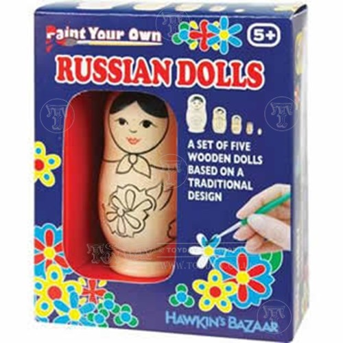 Set of five russian dolls and paints