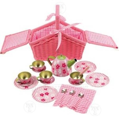Tea Set in a Pink Picnic Basket