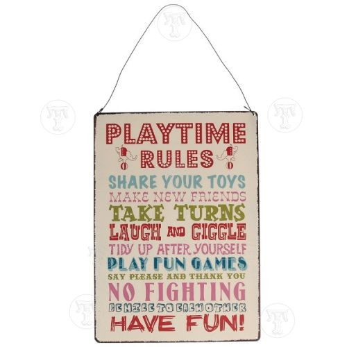 Playtime Rules Metal Sign