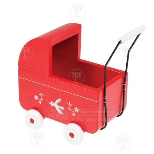 Mini Wooden Red Pram