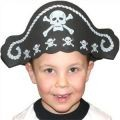 Foam Pirate Hat with Skull Cross Bones