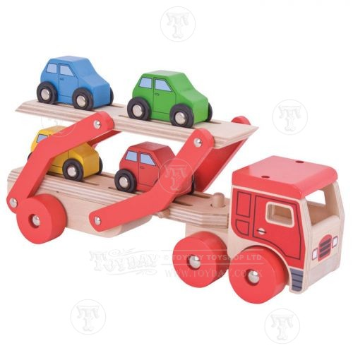 Wooden Transporter Lorry and Cars