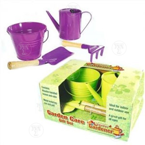 Metal Watering Can and Bucket Set