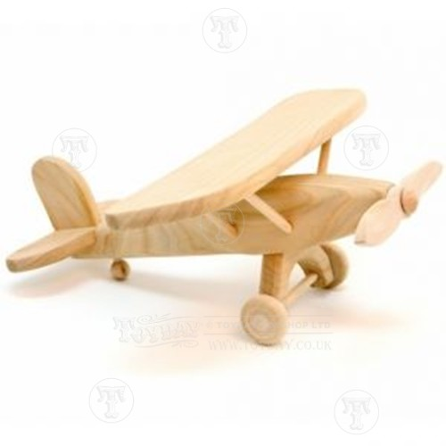 Details about Wooden Toy Aeroplane NEW Natural Wood Plane