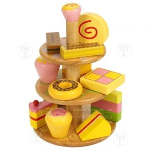Toyday Traditional & Classic Toys  Wooden Cake Stand with Cakes