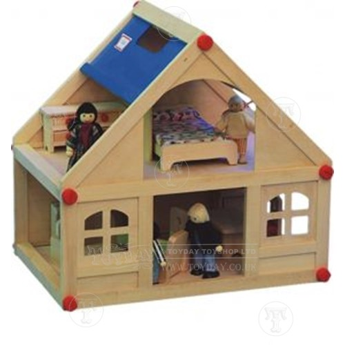Small Wooden Dolls House With Furniture And Doll Family New Ebay