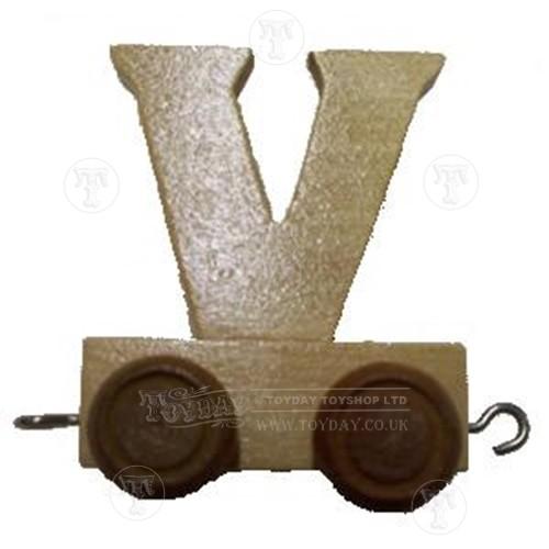 Wooden Train Letter V